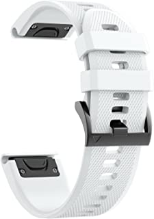 Notocity Compatible Fenix 5X Band 26mm Width Soft Silicone Watch Strap for Fenix 5X Plus/Fenix 6X/Fenix 6X Pro/Fenix 3/Fenix 3 HR/Descent MK1/D2 Delta PX/D2 Charlie-White
