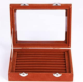 Niome Women Velvet Glass Jewelry Box Display Storage Case Holder Ring Earrings Organizer Stand (Brown)