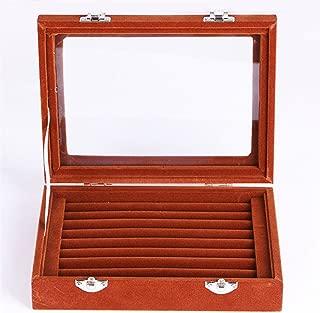Niome Women Velvet Glass Jewelry Box Display Storage Case Holder Ring Earrings Organizer Stand (Brown)