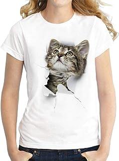 GRMO Womens Cat Printing Casual Slim Crewneck Short-Sleeve Top Blouse T-Shirt