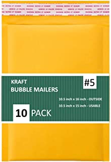 SALES4LESS #5 Kraft Bubble Mailers 10.5x16 Inches Shipping Padded Envelopes Self Seal Waterproof Cushioned Mailer 10 Pack,...