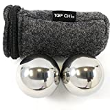 Top Chi 1 lb. 1.5 Inch Solid Stainless Steel Baoding Balls with Carry Pouch. Non-Chiming Chinese Health Balls for Hand Therapy, Exercise, and Stress Relief