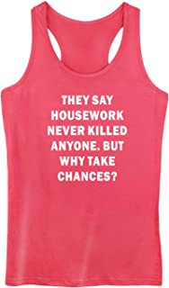 GROWYI Womens Funny Workout Tank Tops Racerback They Say Housework Never Killed Anyone TV Fitness Gym Sleeveless Shirts
