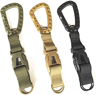 3Pcs Tactical Gear Carabiner Clips, Premium Nylon Multifunction Webbing Backpack Buckle Heavy Duty Keychain Clip (Assorted Colors)