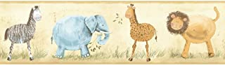 Tan//Brown Band York Wallcoverings KZ4200BSMP York Kids IV Safari Animals 8-Inch x 10-Inch Memo Sample Wallpaper-Borders