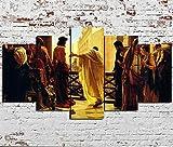 GHYTR XXL Impression sur Toile Intissee 150X80Cm avec Cadre 5 Parties Jésus Et Ses Disciples Chrétiens HD Affiche Toile Peinture Tableau De La Maison Salon Mur Art Décoration Photo