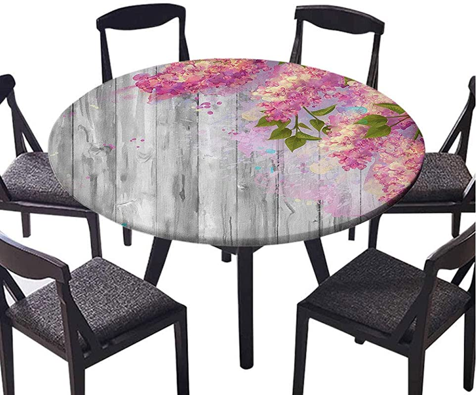SATVSHOP Small Round Tablecloth 30 Round Very Suitable For Coffee Table Decoration Flower Floral Watercolor Style Effect Branch Of Lilac On Wooden Background Grey And Pink Elastic Edge