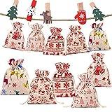 Gudotra 50 pcs Bolsas de Algodón Navideñas para Joyería Regalitos Regalos Arroz Navidad Bolsitas de Algodón