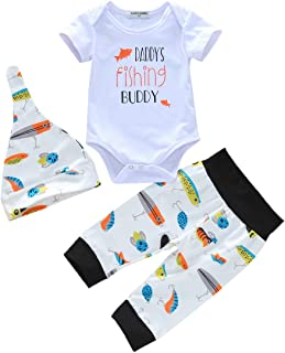 CANDYEEMMA Dady's Fishing Buddy Baby Boy Clothes Newborn Romper Tops + High Waist Long Pants + Hat 3Pcs Outfit Sets