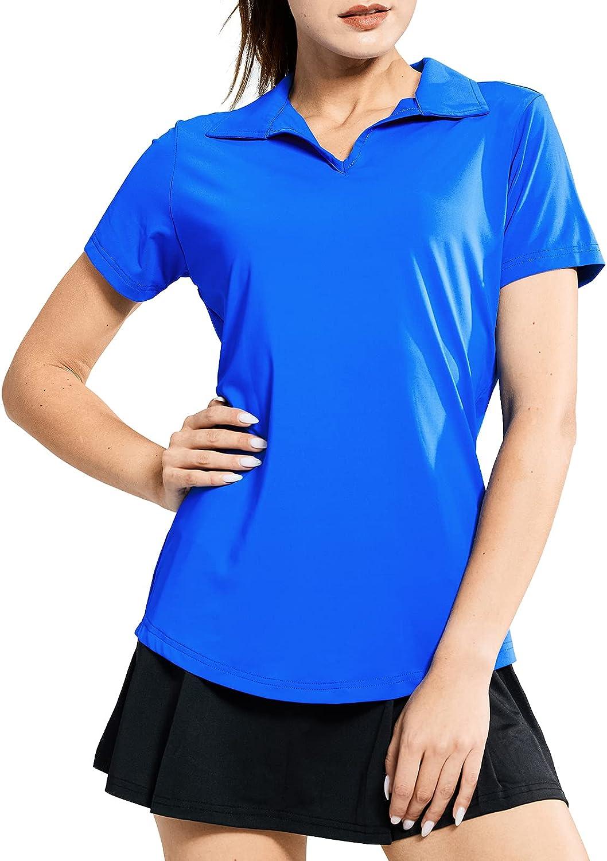 MIER Women's Ranking TOP10 Golf Polo Shirts Collared Sleeve Super sale V Neck Short Tenni