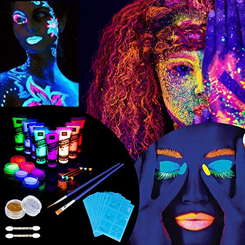 Lictin UV Bodypainting Schwarzlicht Schminke Körperfarben Fluoreszierende Farben Schminke