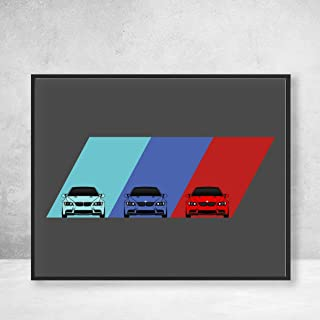 BMW M3 E92 3 Series (2007-2013) on M Power BMW M Logo Poster Print Wall Art Decor Handmade M Power BMW M E90 E91 E93