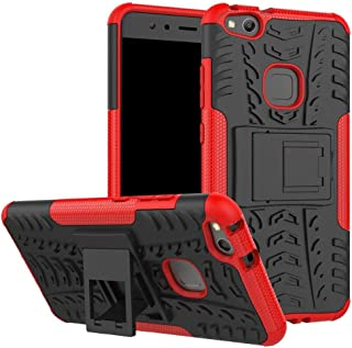 Huawei P10 Lite -Heavy Duty Armor Hybrid ShockProof Hard Back Stand Case Cover -Red