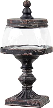 Foreside Home & Garden Black Glass Jar Distressed Metal Finial Stand