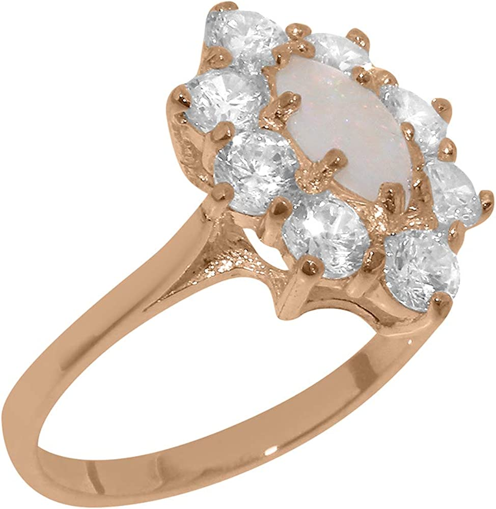 Solid 18k Rose Gold Natural Opal & Cubic Zirconia Womens Cluster Ring - Sizes 4 to 12 Available
