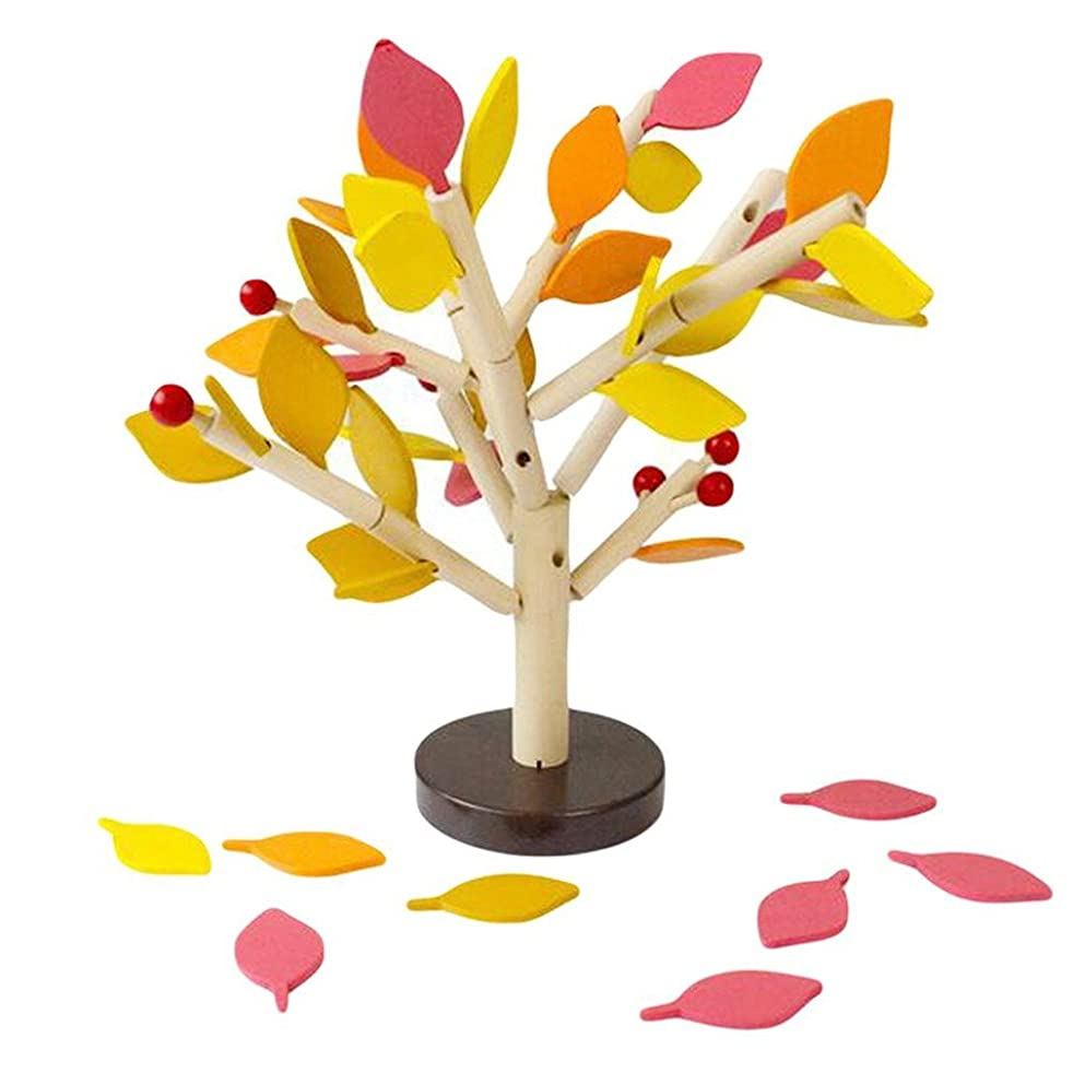 DIY Building Kits - Inserting Leaves 3D Tree Blocks Wooden Building Blocks Set Kids Early Educational Toy for Girls and Boys