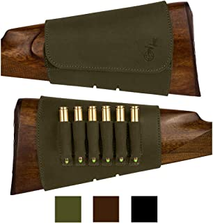 BRONZEDOG Hunting Buttstock Ammo Cartridge Holder Pouch Adjustable 12, 16 Ga, Leather Rifle Shell Holder Shotgun Stock Right Handed Black Brown Khaki