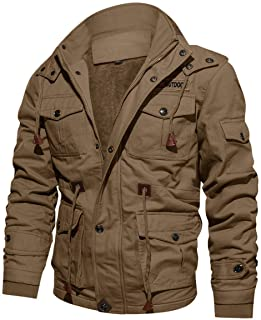 Sponsored Ad - CRYSULLY Men`s Winter Casual Thicken Multi-Pocket Outwear Jacket Coat with Removable Hood