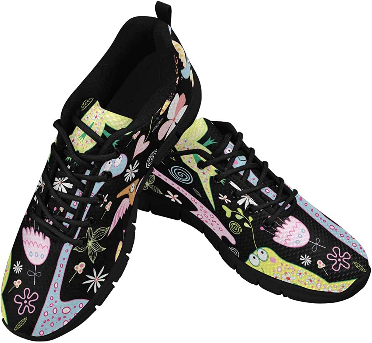 InterestPrint Birds and Flowers Women's Athletic Walking Shoes Casual Mesh Comfortable Work Sneakers