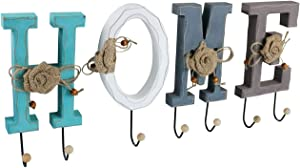 Wall Key Holder with 7 Hooks, Rustic Wall Mount Key Rack Organizer for Entryway, Hallway, Mudroom, Kitchen, Decorative Space-Saving Hanger for Hanging Coats, Purses, Unique Home Modern Decor