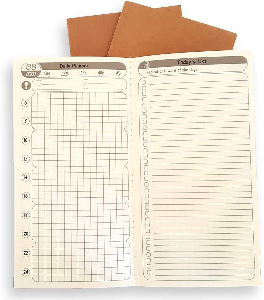 3 Pack Free Diary Daily List Planner Insert Monthly Planner Journal Refill Insert - 31 Day Planner, to Do List, 1 Month Planner - 2019 Calendar for Standard Travelers Notebook TN 4.75