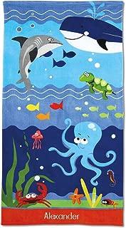 Lillian Vernon Kids Personalized Under The Sea Jumbo Beach Towel - Custom Embroidered Name, 100% Cotton, Dophin & Whale Boys & Girls Beach Towel