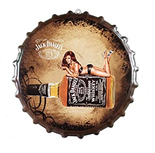 Ayiguri Beer Bottle Cap Decoration Creative Metal Tin Signs Vintage Wall Decor Art Plaque Souvenir Home Bar Cafe Bar Size Dia 13.7 Inches (Jack Daniel's)