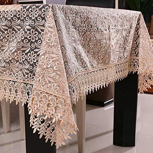 NO BRAND tafelkleed van kant, wit, decoratie voor bruiloften, doorschijnend tafelkleed, geborduurd tafelkleed, bloemenpatroon, eettafel, 130 x 130 cm, bruin