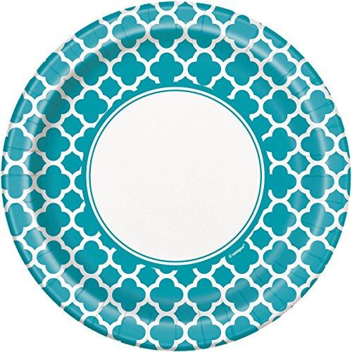 Unique Party - 38745 - Paquet de 8 Assiettes - Carton - Motif Quadrilobé - 23 cm - Turquoise