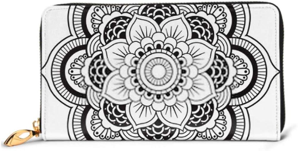 Fashion Handbag Zipper Wallet Mandala Round Ornament Pattern Phone Clutch Purse Evening Clutch Blocking Leather Wallet Multi Card Organizer
