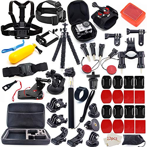 MOUNTDOG Action Camera Accessories Kit for GoPro Hero 7 6 5 4 3+ 3 2 1 Hero Session 5 Black Accessory Bundle Set for Yi AKASO Apeman SJ4000 DBPOWER WiMiUS Rollei QUMOX Campark Action Camera Accessory