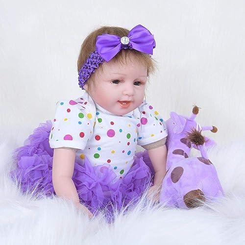 Hongge Reborn Baby Doll,Reborn Babypuppe lebensecht Weißhe Gel Reborn Puppe Neugeborenes Puppe Kinder Spielzeug Weißnachten Geburtstag 55cm