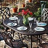 Lazy Susan - JUNE 150 x 95 cm Ovaler Gartentisch mit 4 Stühlen - Gartenmöbel Set aus Metall, Antik Bronze (ROSE Stühle)