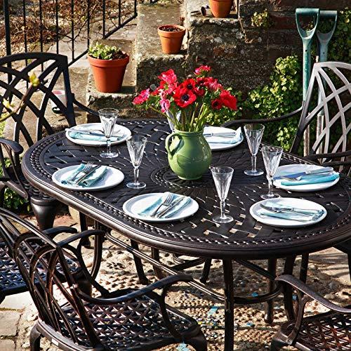 Lazy Susan - Table ovale 150 x 95 cm JUNE et 4 chaises de jardin - Salon de  jardin en aluminium moulé, coloris Bronze ancien (chaises APRIL)