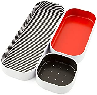 """Three By Three Seattle Drawer Organizer Pack of 3, 1"""", Red/Stripes/Dots (52311)"""