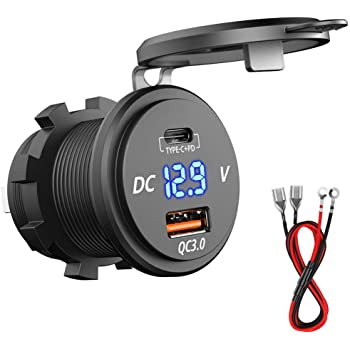 impermeabile CHGeek camion e molto altro Dual USB adattatore per accendisigari con voltmetro digitale a LED per moto 5 V 12 V//24 V 4,2 A roulotte Presa USB per auto caricabatterie per auto
