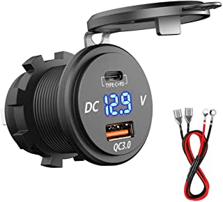 PD Type C USB Car Charger Socket 18W and QC 3.0 USB Quick Charge Socket 12V/24V Car Power Outlet Waterproof 64W Power Deli...