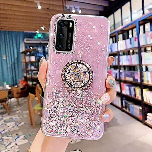 Coque pour Huawei P40 Coque Transparent Glitter avec Support Bague,étoilé Bling Paillettes Motif Silicone Gel TPU Housse de Protection Ultra Mince Clair Souple Case pour Huawei P40,Rose