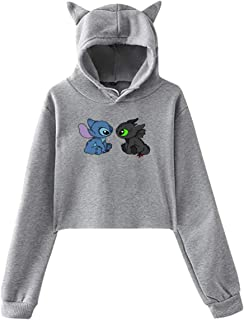 Stitch and Toothless Woman Cat Ear Hoodie Sweater Funny Long Sleeve Hooded Sweatshirt