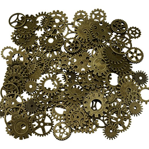 200 Gramm sortierte Vintage Bronze Metall Steampunk Schmuck machen Charms Cog Watch Wheel (Bronze)