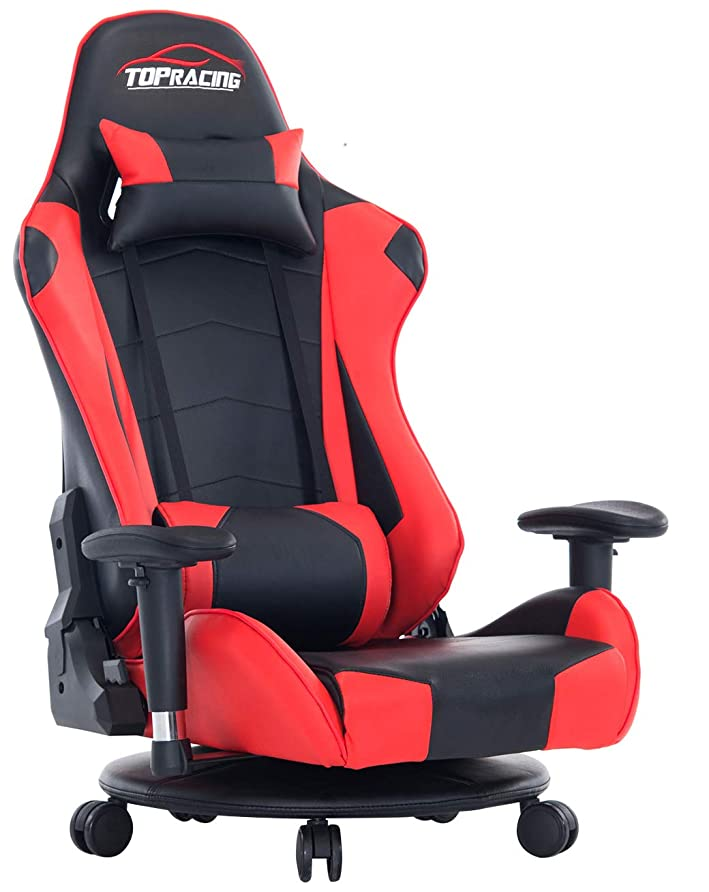 クローゼット黒くするカールTOPRACING ゲーミング座椅子 360度回転 ゲーミングチェア155度リクライニング ハイバック 可動肘 ヘッドレスト クッション付き キャスター付き(赤)