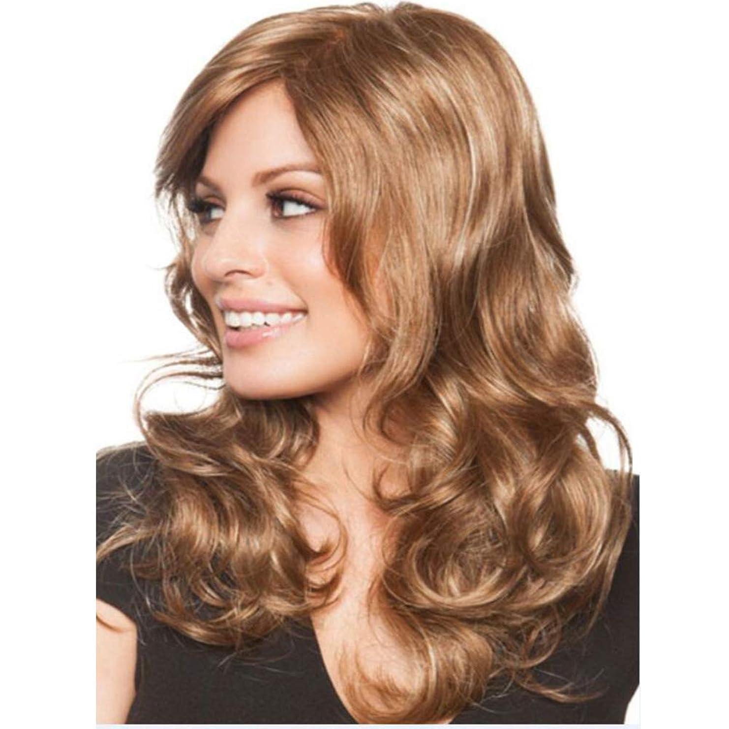 嫌い家族開始女性用ロングウェーブカーリーウィッグローズネットフルヘッドウィッグ耐熱合成かつらブラウン50 cm