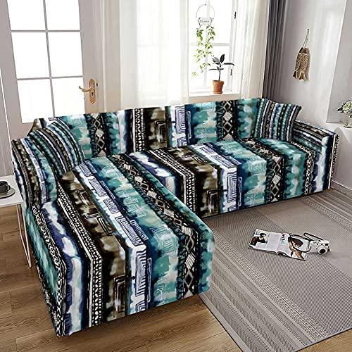 WXQY Funda de sofá elástica con Estampado Abstracto Todo Incluido Funda de sofá elástica Chaise Longue Fundas para sofá Decoración del hogar A1 4 plazas