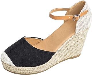 Huiyuzhi Womens Wedge Sandals Ankle Strap Cap Toe Espadrille Wedge Sandal