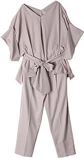 セットアップ レディース 夏 半袖 フォーマル テーパードパンツ 結婚式 袖あり