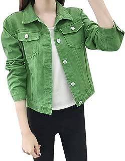 Sonojie Veste Couleur Denim Vert Femme Blouson en Jean Crop Top Revers Manteau de Base Slim Grande Taille Cardigan Veste Moto 2019