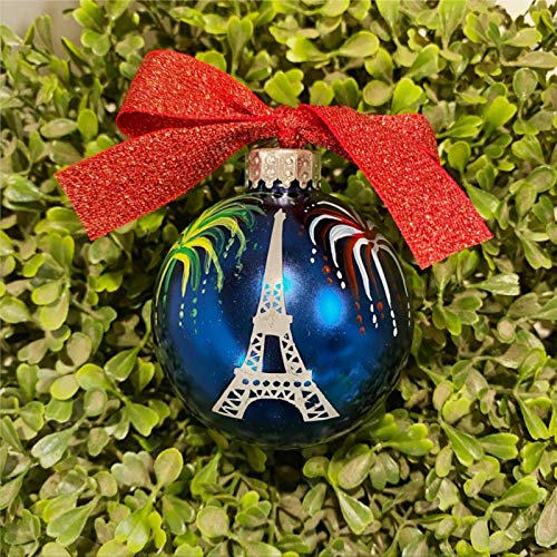 DONL9BAUER Christmas Balls Ornaments Eiffel Tower with Fireworks Hanging Ball for Xmas Tree Paris In The Summer Shatterproof Christmas Decorations for Holiday Wedding Party