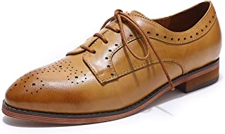 MIKCON Oxford Shoes for Women Leather Perforated Wingtip Lace-up Saddle Flat Brogue Shoes
