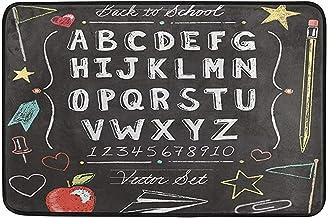Alfombra de Entrada Vintage Back to School ABC Alfabeto Felpudo Interior Exterior 40X60cm Entrada Baño Alfombrilla