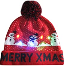 WILLBE Halloween Hat Merry Christmas LED Light Up Hat Beanie,Knit Cap Hairball Warm Caps Gifts Ladies and Men Winter Men